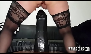 Massive dildo fucking amateur battle-axe