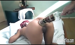 Anal fisting coupled with XXL bottle insertions