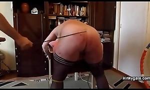 My fat slut ass gets caned