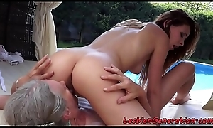 Bigtitted granny gets queened outdoors