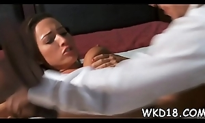 Playgirl performs nice blowjob added to feels beamy Hawkshaw in messy vagina