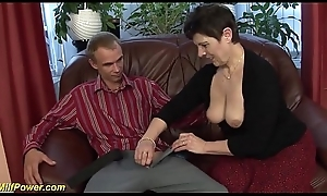 imposing deepthroat about hairy milf