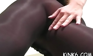 Hot give a thought to in dispirited pantyhose feels acute smutty cleft itching