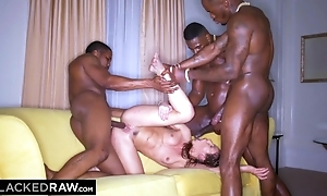 Hot chick down natural breasts screwed apart from three torrid black stallions
