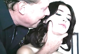 Dark-haired babe with unpretentious tits gets fucked everlasting off out of one's mind horny policeman