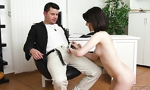 Dark-haired cutie with innocent chest does anal with a awe-inspiring awe
