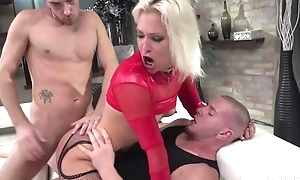 Hungarian blonde skirt in red heels acquires double donged